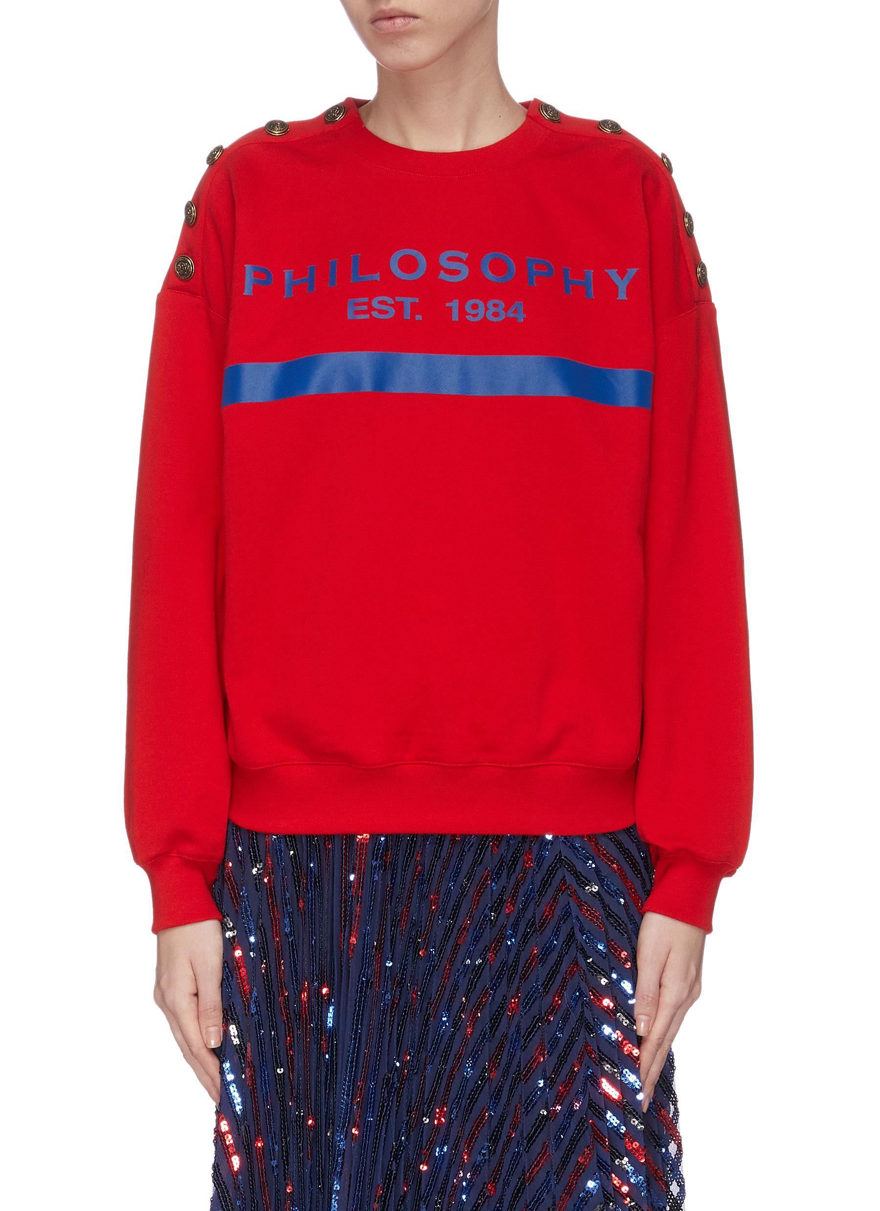 shop Philosophy Di Lorenzo Serafini Logo print button embellished sweatshirt online