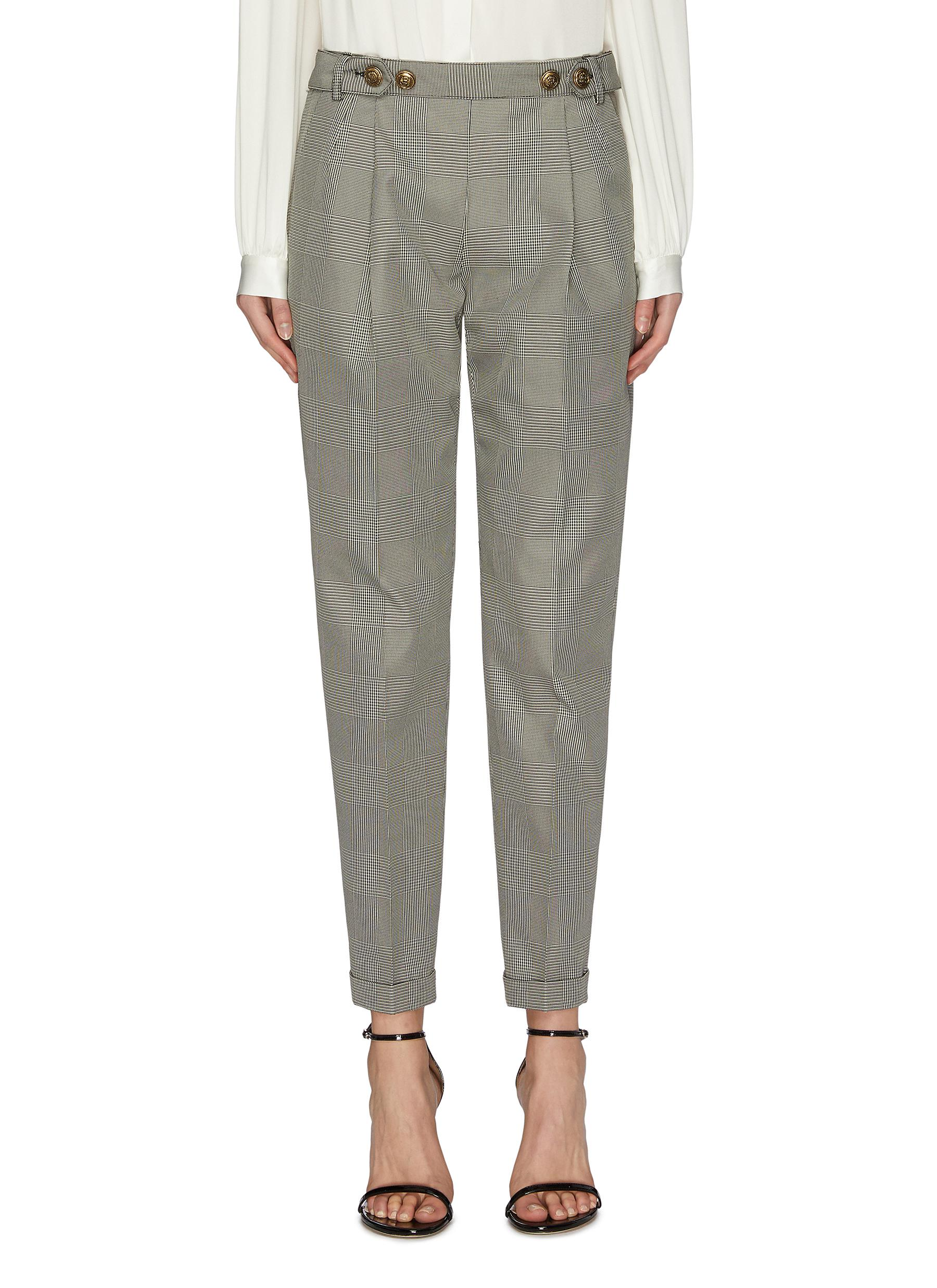 Buy Philosophy Di Lorenzo Serafini Pants & Shorts Button Embellished Tailored Check Pants