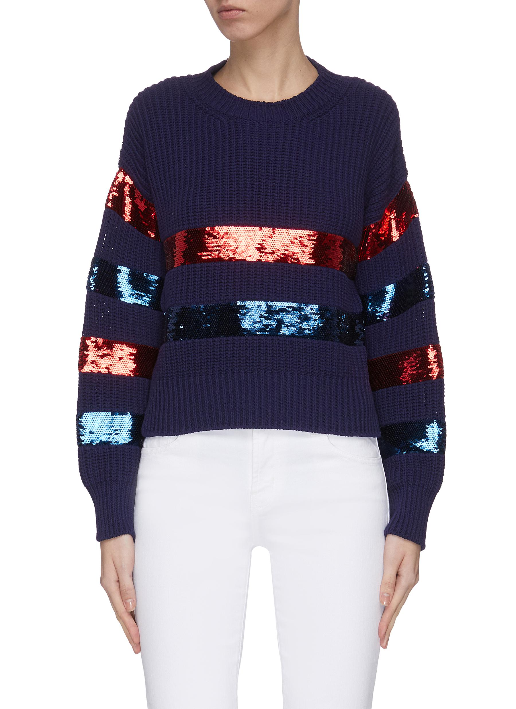 Buy Philosophy Di Lorenzo Serafini Knitwear 'Breton' sequin embellished stripe sweater