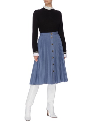 Figure View - Click To Enlarge - PHILOSOPHY DI LORENZO SERAFINI - Button front pleated midi skirt