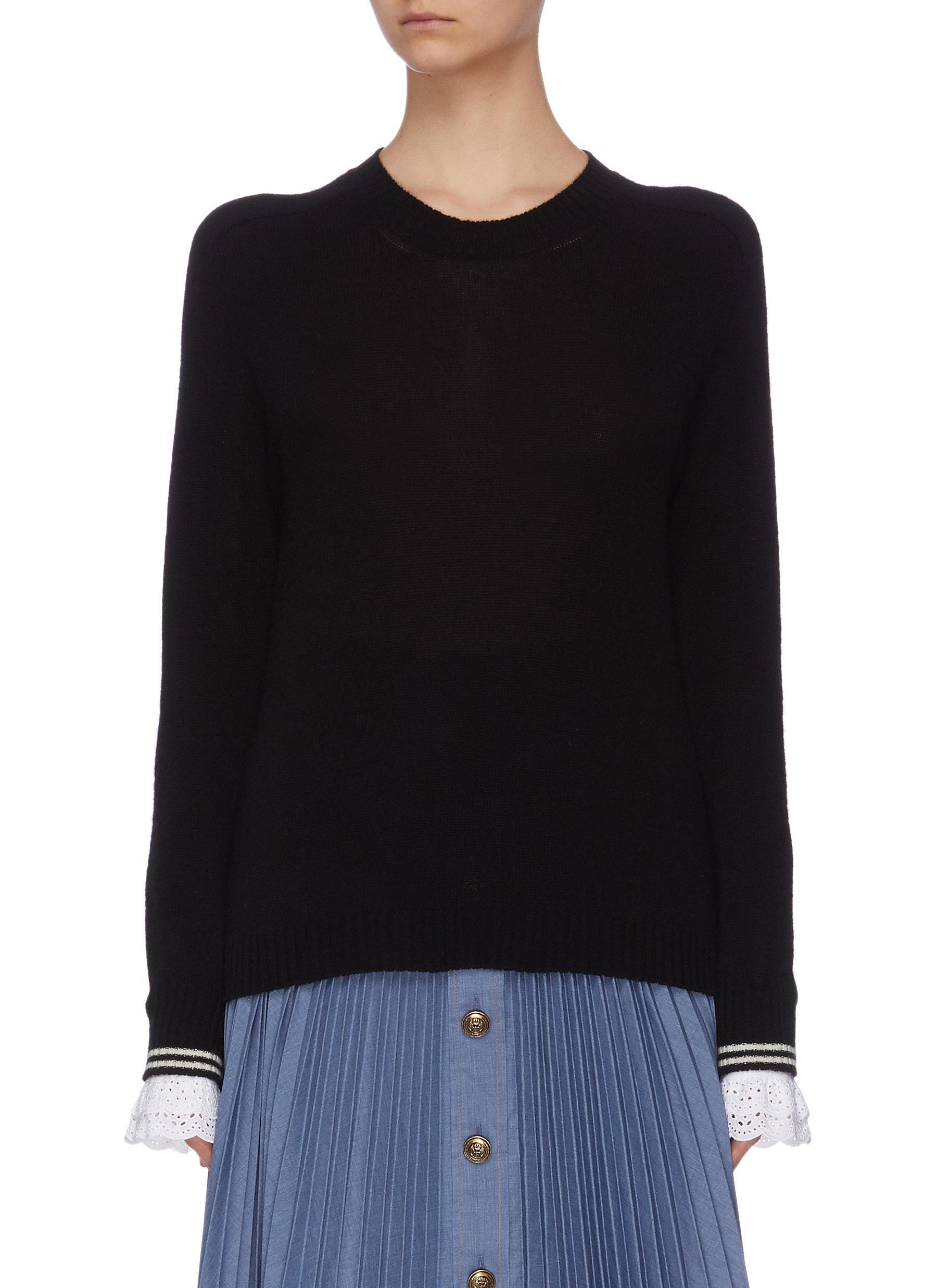 Buy Philosophy Di Lorenzo Serafini Knitwear Lace ruffle cuff sweater