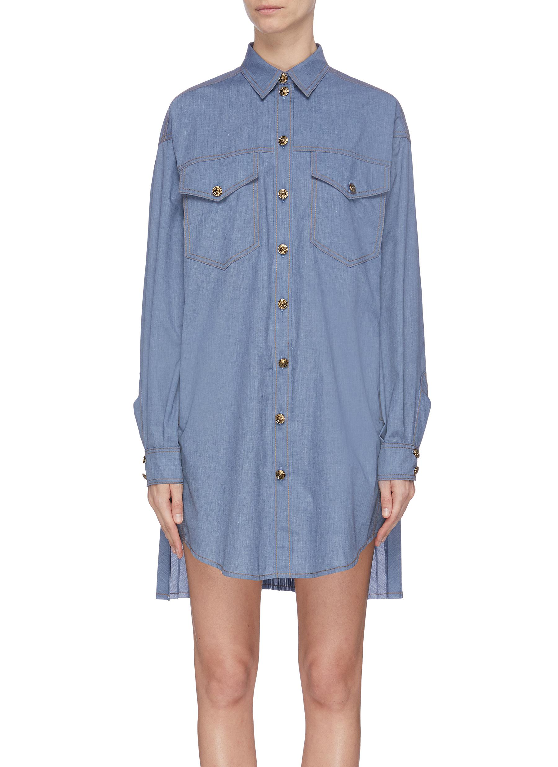 shop Philosophy Di Lorenzo Serafini Accordion pleat denim shirt dress online