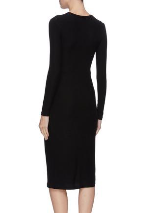 Back View - Click To Enlarge - VINCE - Asymmetric slit hem gathered detail dress