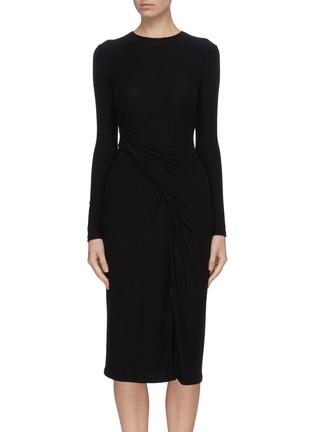 Main View - Click To Enlarge - VINCE - Asymmetric slit hem gathered detail dress