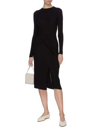 Figure View - Click To Enlarge - VINCE - Asymmetric slit hem gathered detail dress