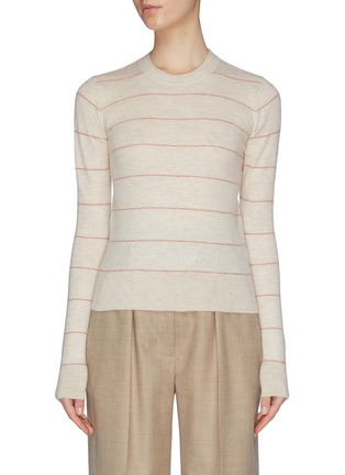 Main View - Click To Enlarge - VINCE - Striped cashmere fitted crew top