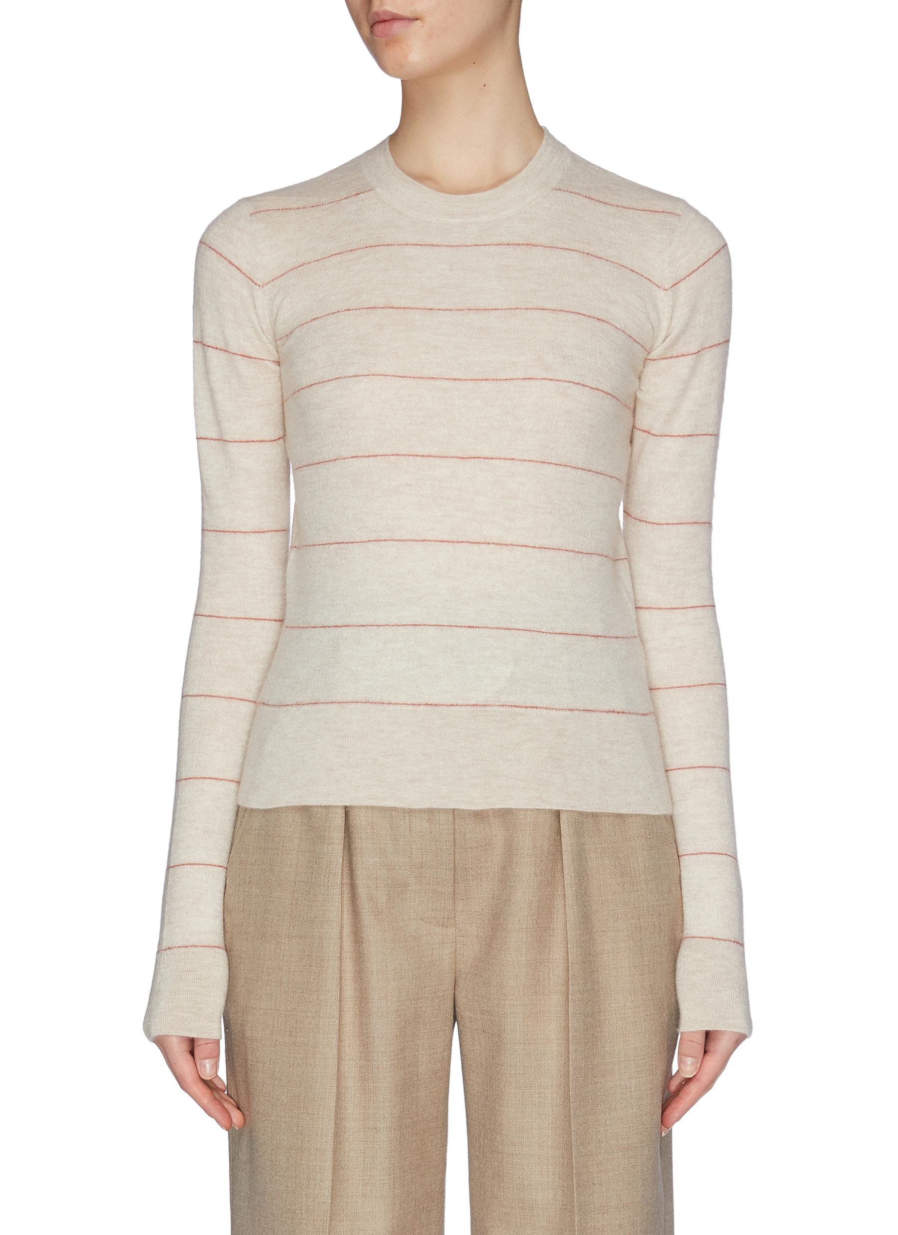 shop Vince Striped cashmere fitted crew top online