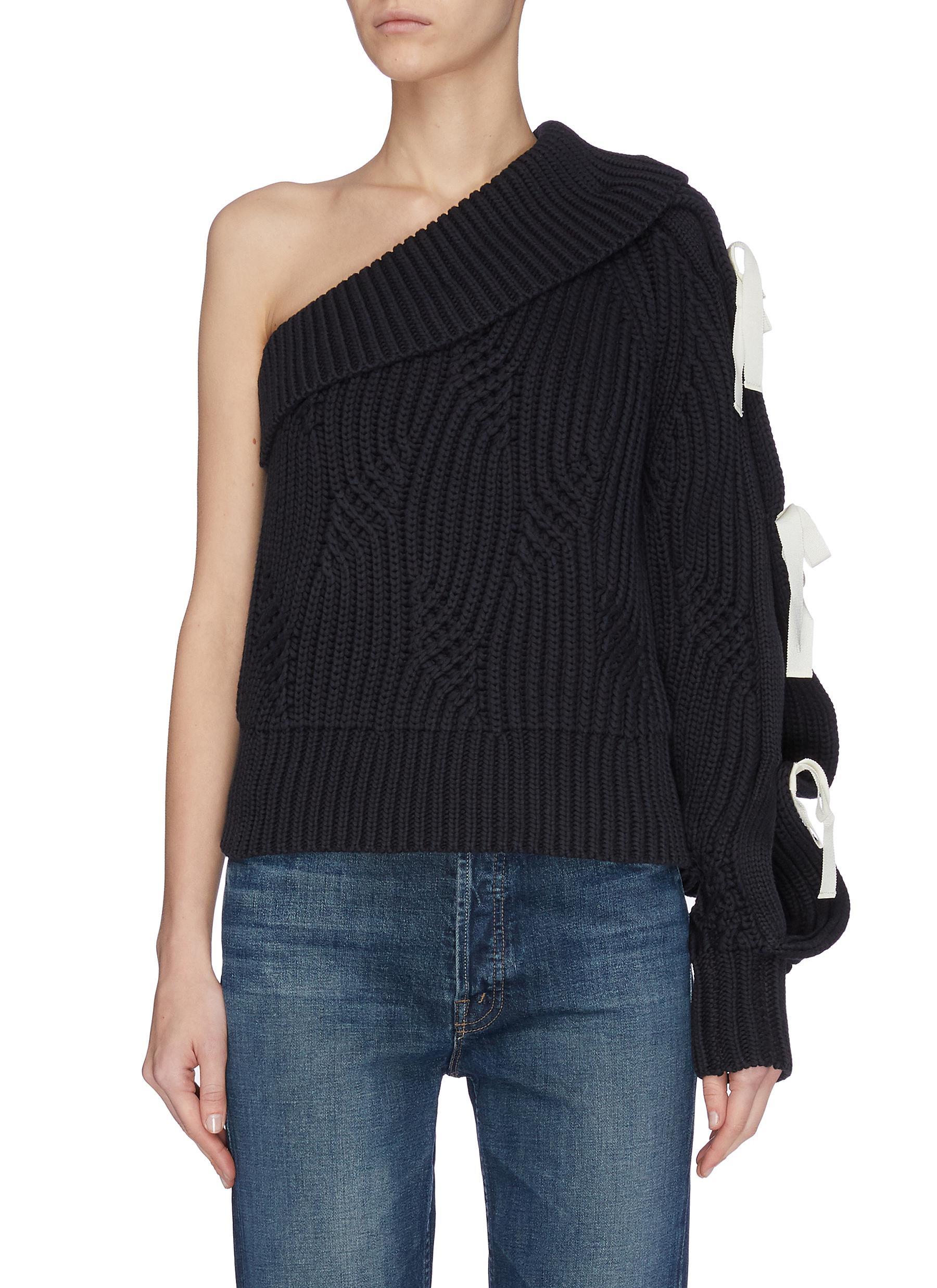 shop Hellessy One shoulder ribbon embellished rib knit sweater online