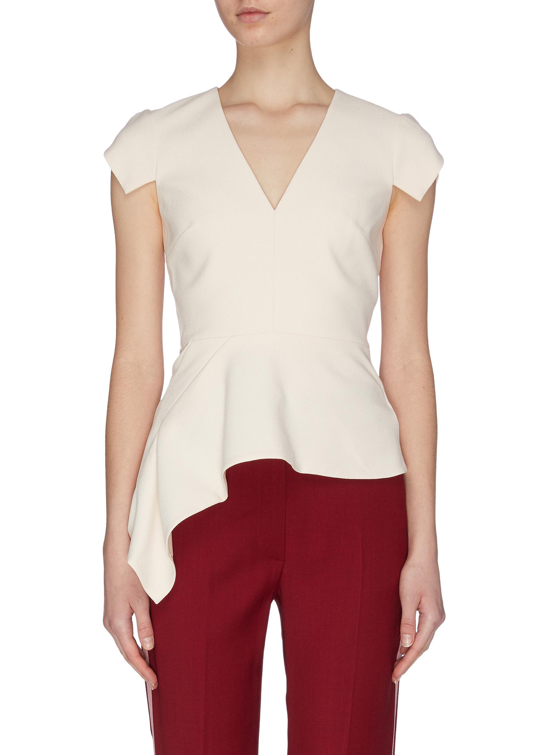 Buy Roland Mouret Tops 'Breen' Crepe Peplum Top