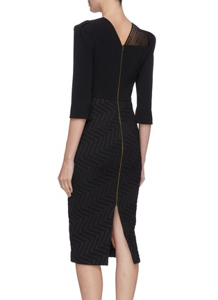 Back View - Click To Enlarge - ROLAND MOURET - 'Palatine' chevron skirt lace panel dress