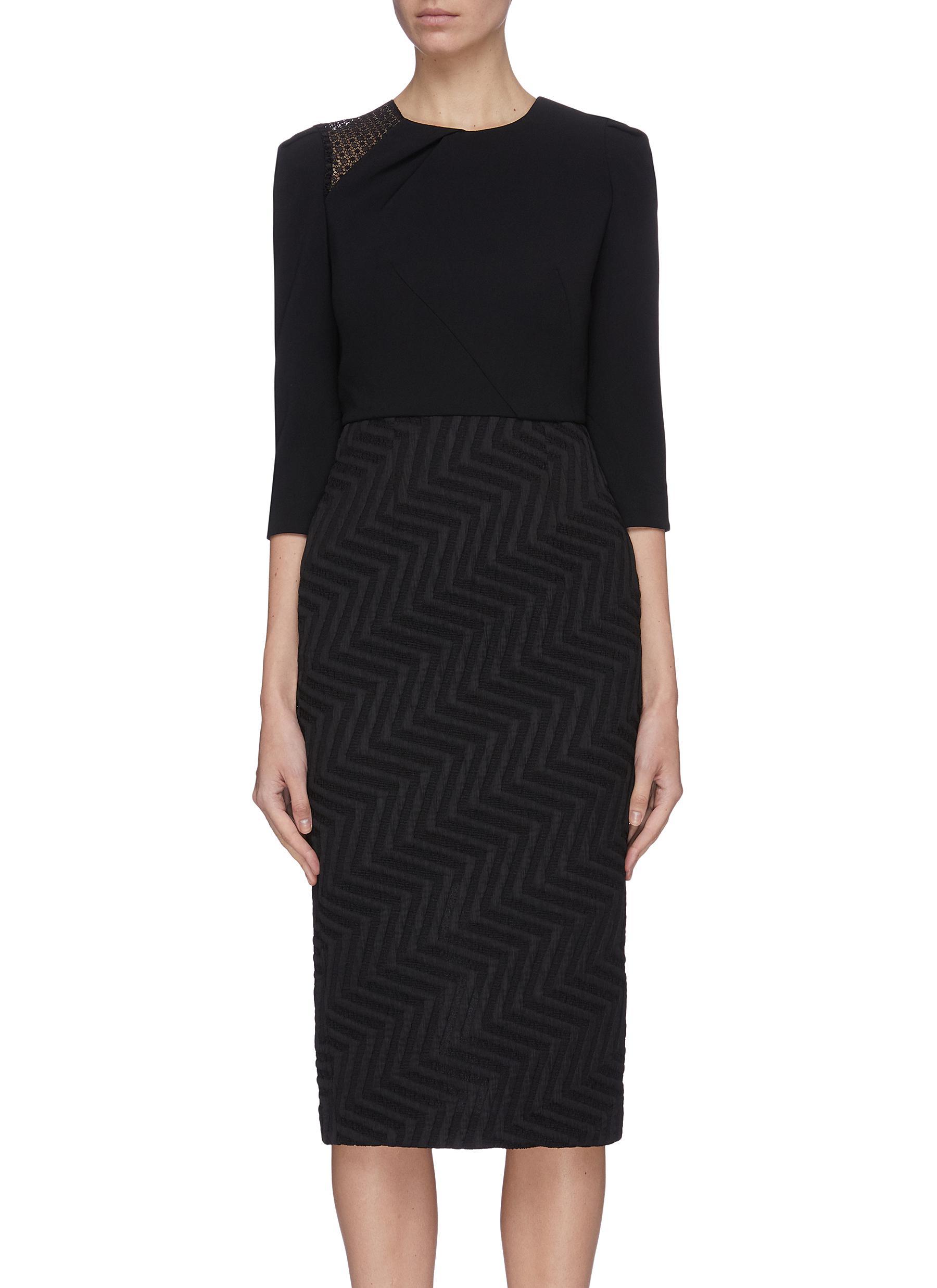 Buy Roland Mouret Dresses 'Palatine' chevron skirt lace panel dress