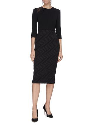 Figure View - Click To Enlarge - ROLAND MOURET - 'Palatine' chevron skirt lace panel dress