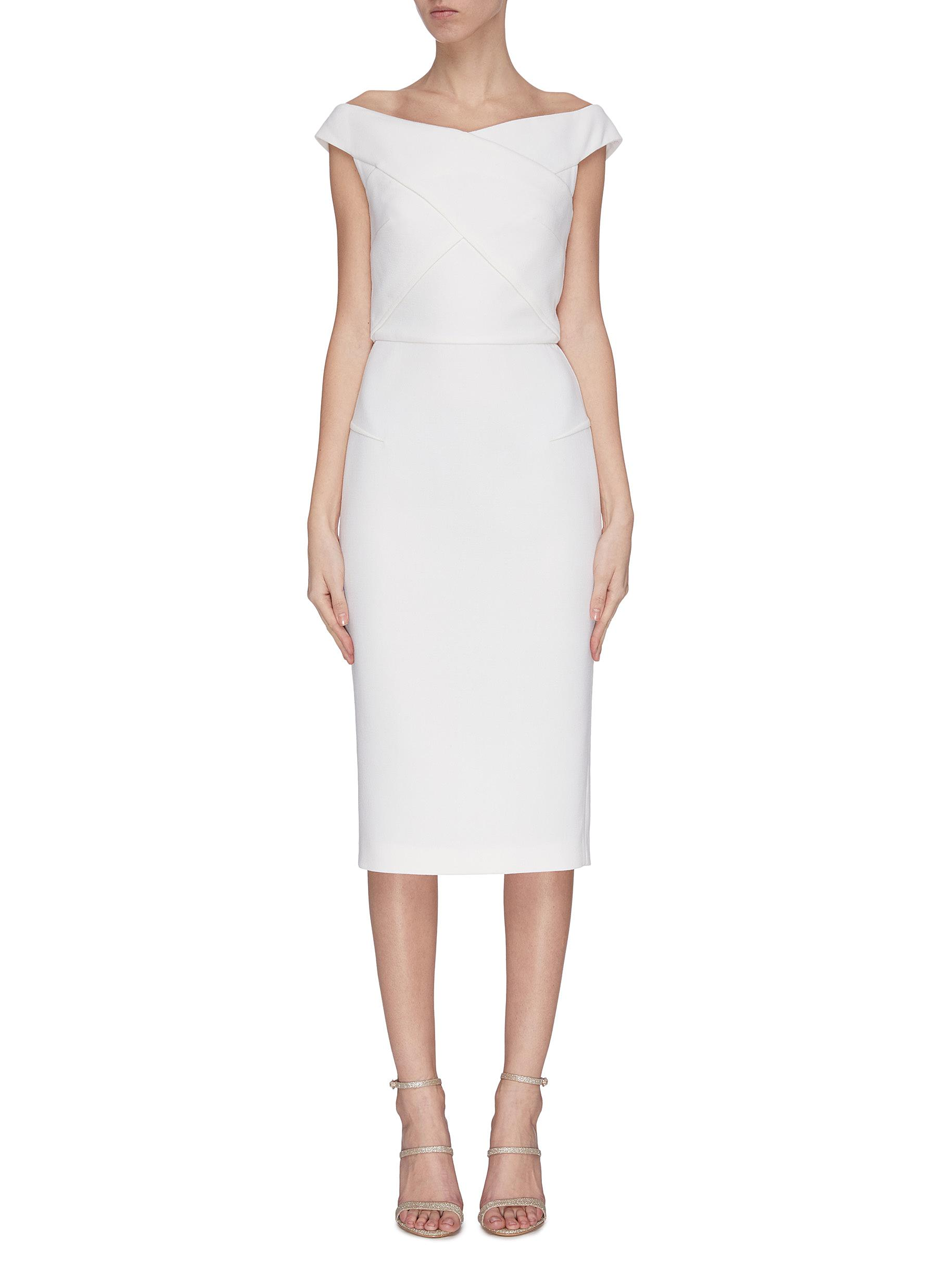 shop Roland Mouret 'Amarula' cross front open back dress online