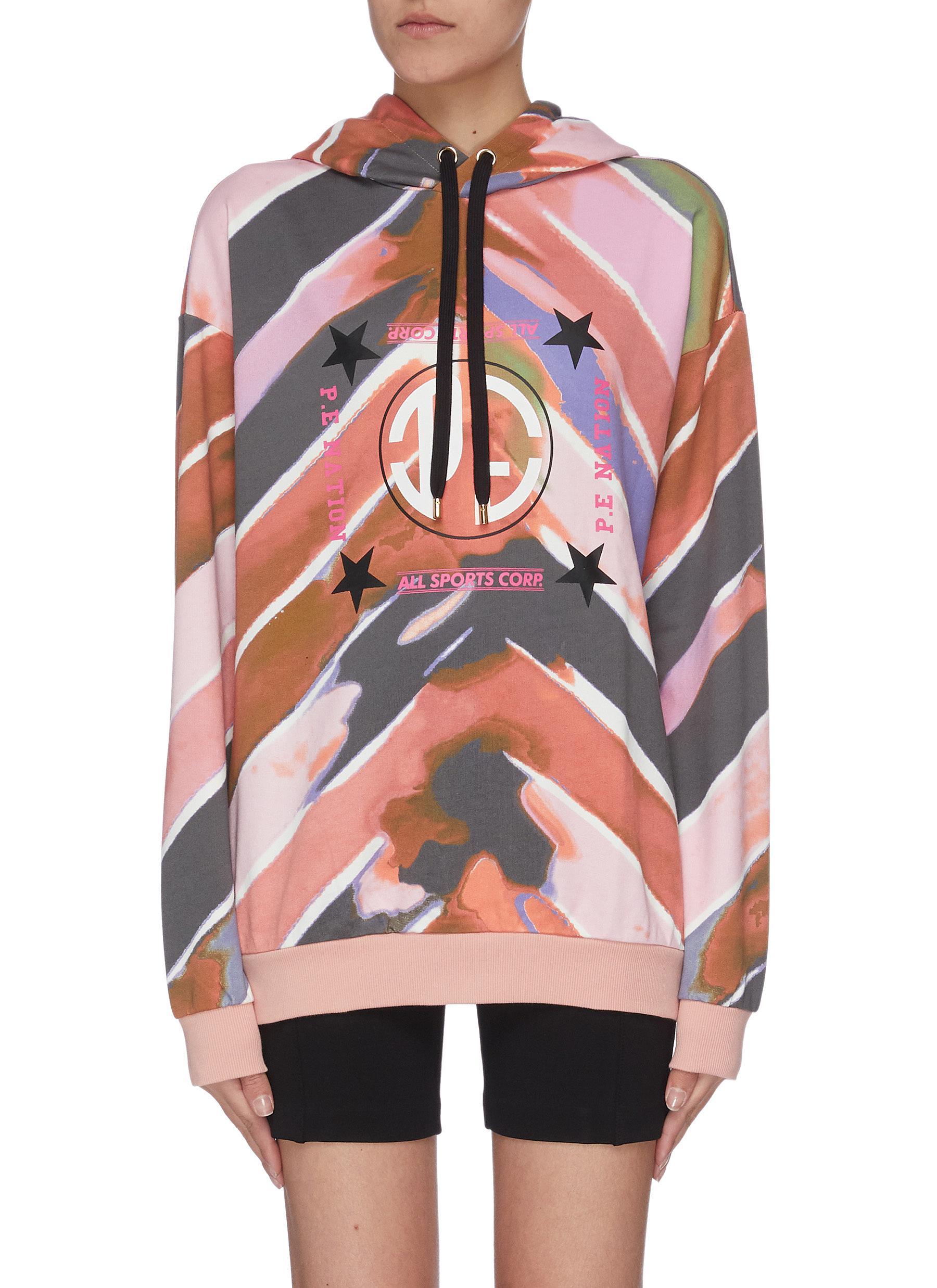 Buy P.E Nation Tops 'Co-driver' tie dye logo hoodie