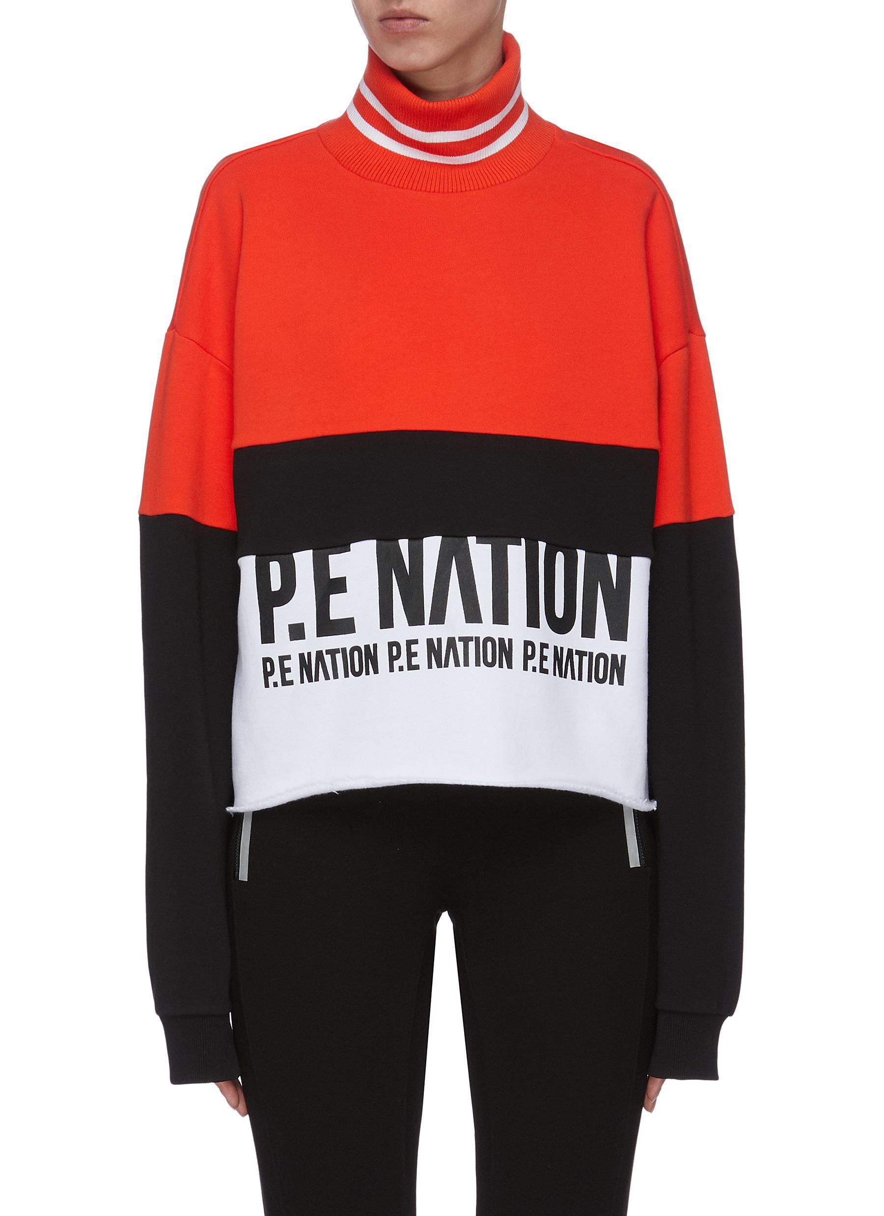 shop P.E Nation 'Real Challenger' colourblock turtleneck sweatshirt online