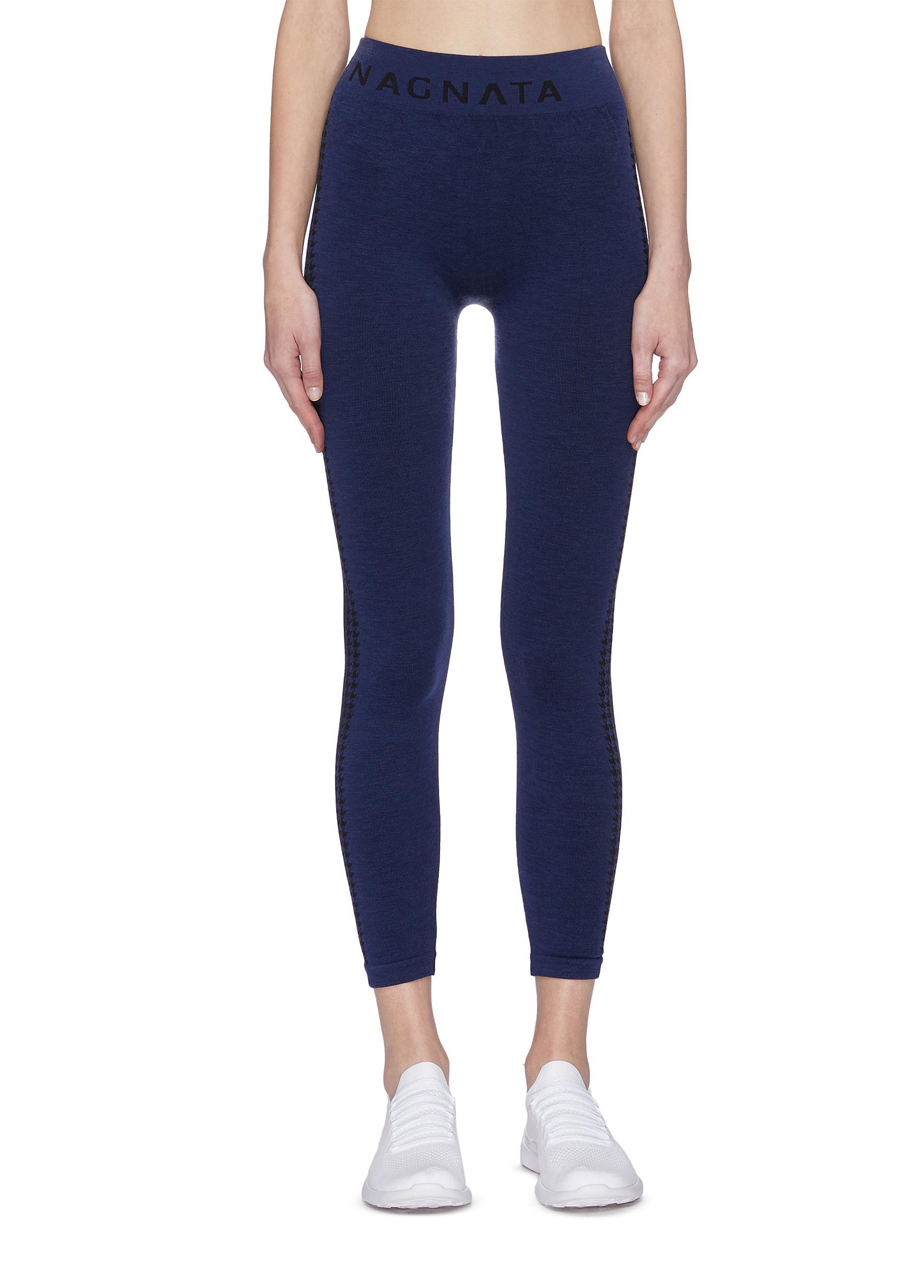 shop Nagnata 'Laya' houndstooth check jacquard stripe outseam performance leggings online