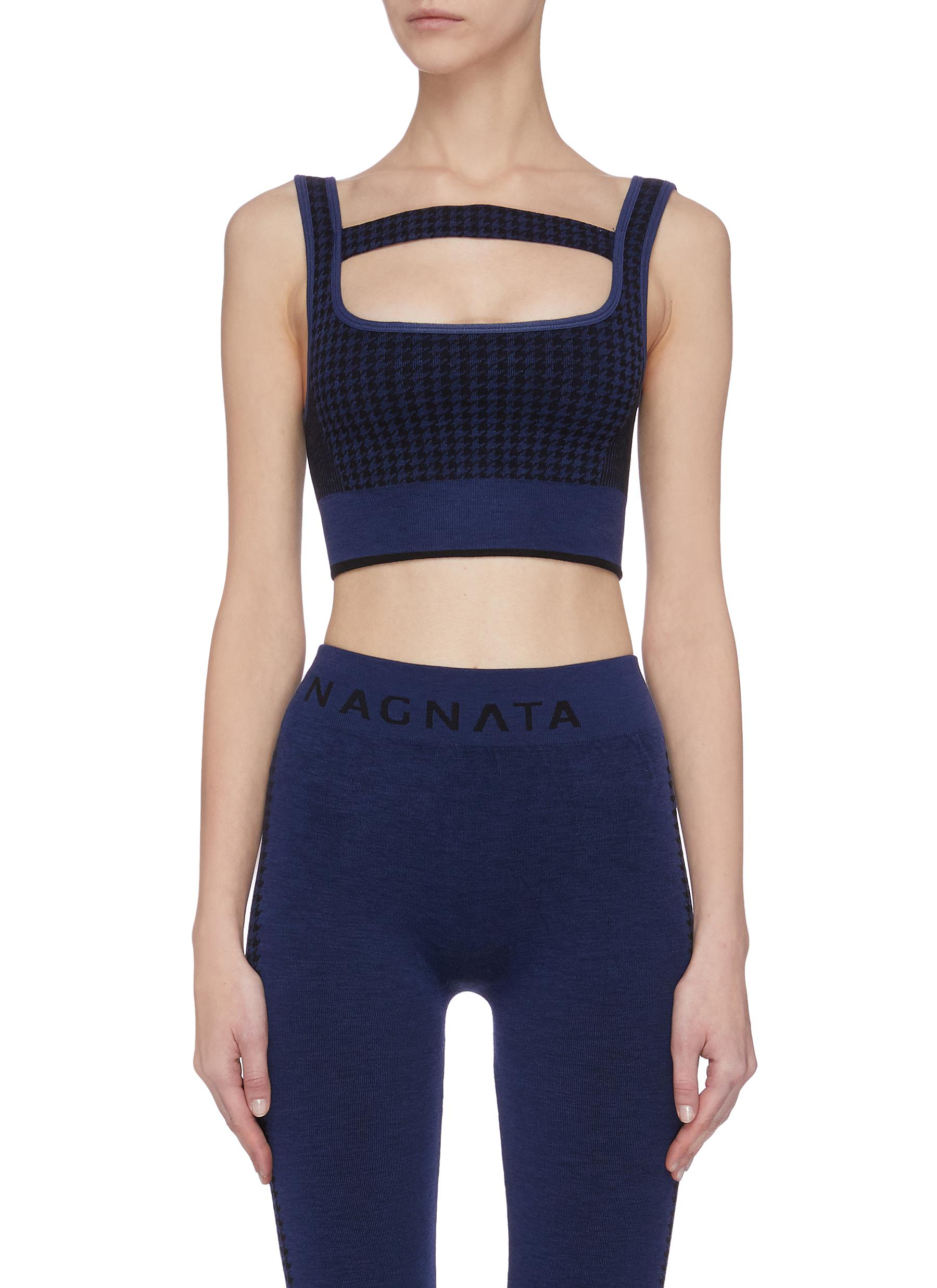 shop Nagnata Houndstooth check jacquard T-bar knit bralette online