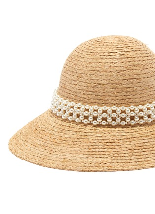 Detail View - Click To Enlarge - LAURENCE & CHICO - Pearl embellished straw hat