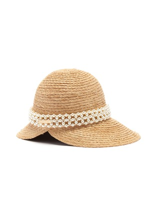 Figure View - Click To Enlarge - LAURENCE & CHICO - Pearl embellished straw hat