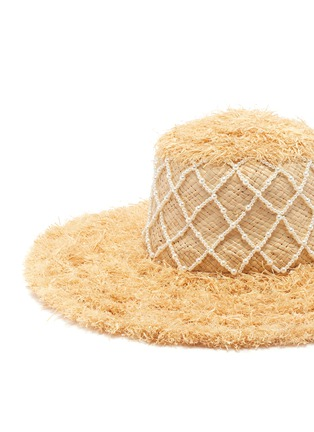Detail View - Click To Enlarge - LAURENCE & CHICO - Diamond grid pearl embellished straw hat