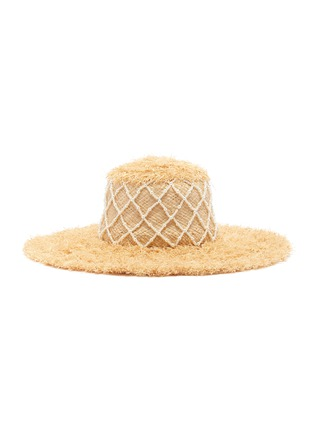 Main View - Click To Enlarge - LAURENCE & CHICO - Diamond grid pearl embellished straw hat