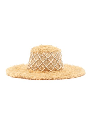 Figure View - Click To Enlarge - LAURENCE & CHICO - Diamond grid pearl embellished straw hat