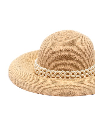 Detail View - Click To Enlarge - LAURENCE & CHICO - 'Raffia' Pearl embellished straw bowl hat