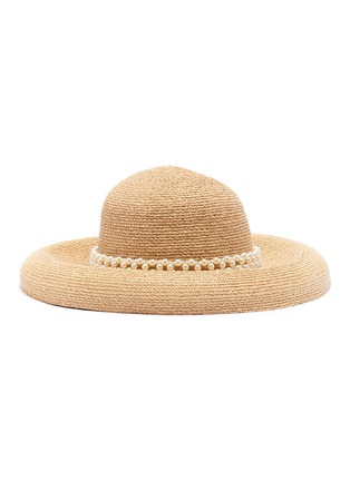Figure View - Click To Enlarge - LAURENCE & CHICO - 'Raffia' Pearl embellished straw bowl hat