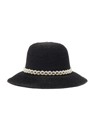 Main View - Click To Enlarge - LAURENCE & CHICO - 'Raffia' Pearl embellished straw bowl hat