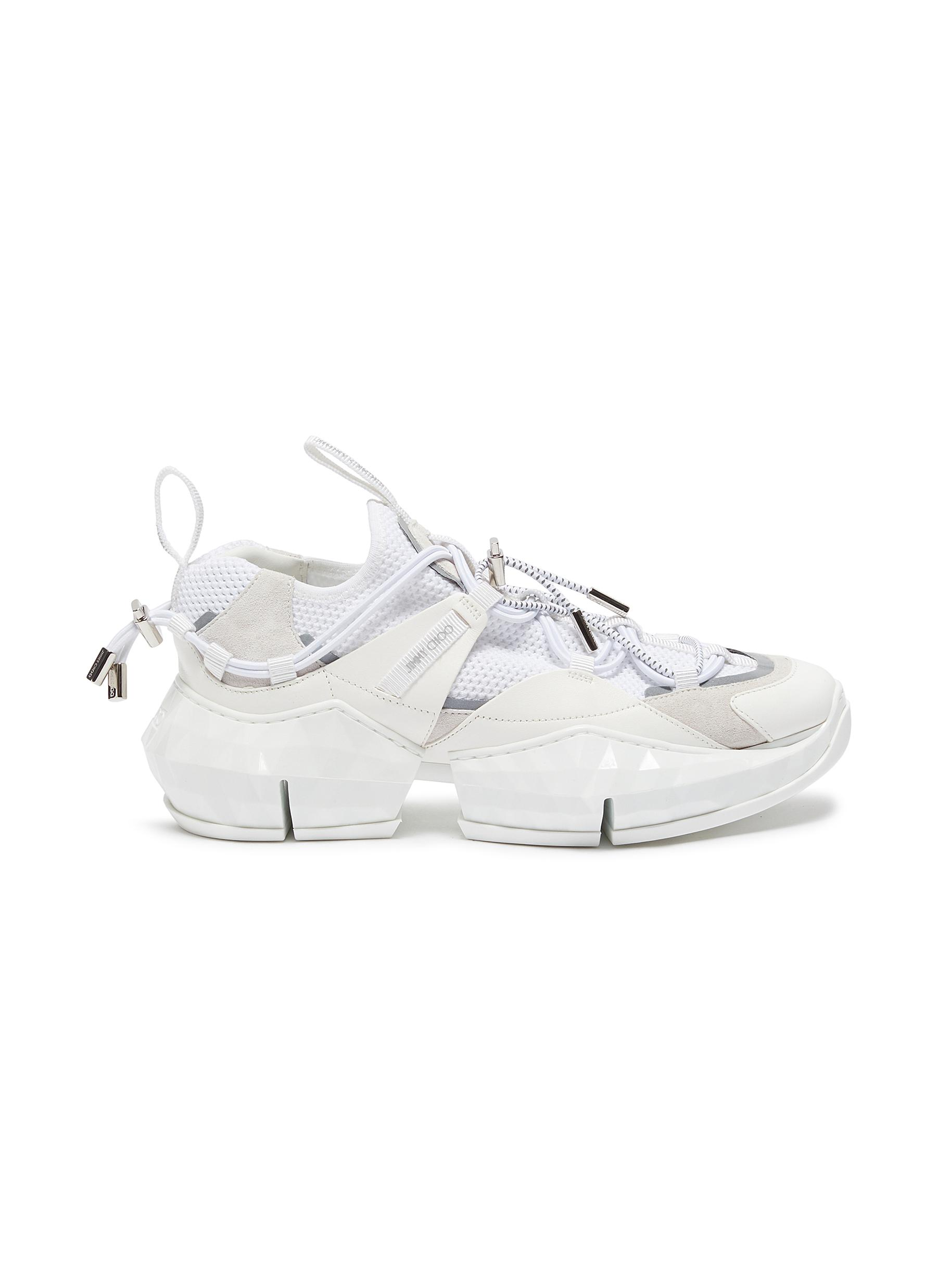 shop Jimmy Choo 'Diamond Trail' stretch mesh leather sneakers online