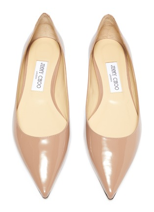 Detail View - Click To Enlarge - JIMMY CHOO - 'Love' Leather Skimmer Flats