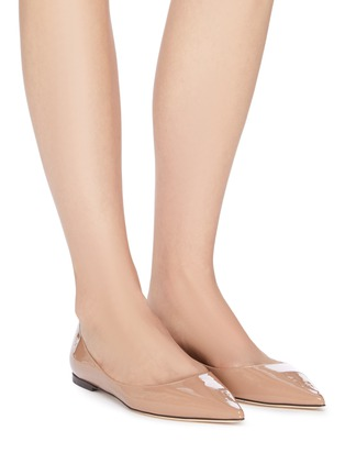 Figure View - Click To Enlarge - JIMMY CHOO - 'Love' Leather Skimmer Flats