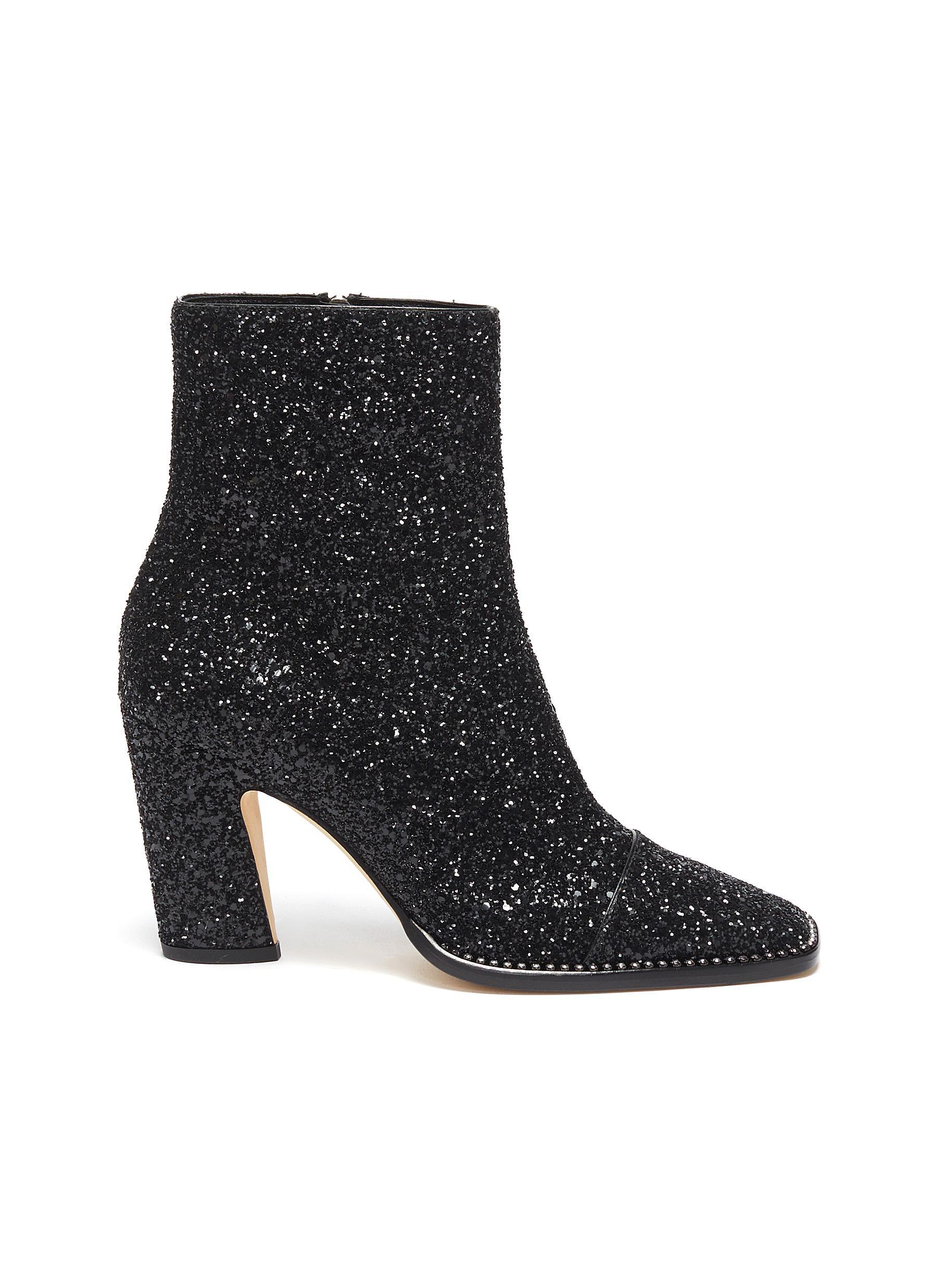 Jimmy Choo Boots Mavin 85 crystal trim glitter ankle boots