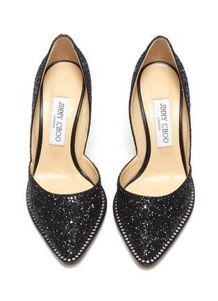 Detail View - Click To Enlarge - JIMMY CHOO - 'Babette' crystal trim glitter pumps