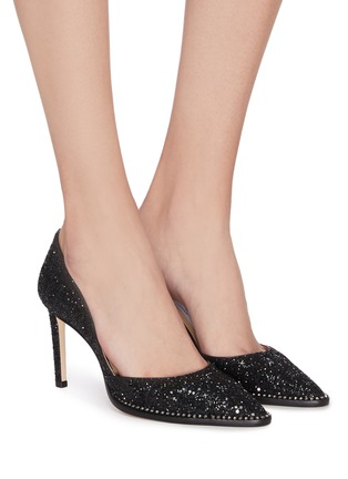 Figure View - Click To Enlarge - JIMMY CHOO - 'Babette' crystal trim glitter pumps