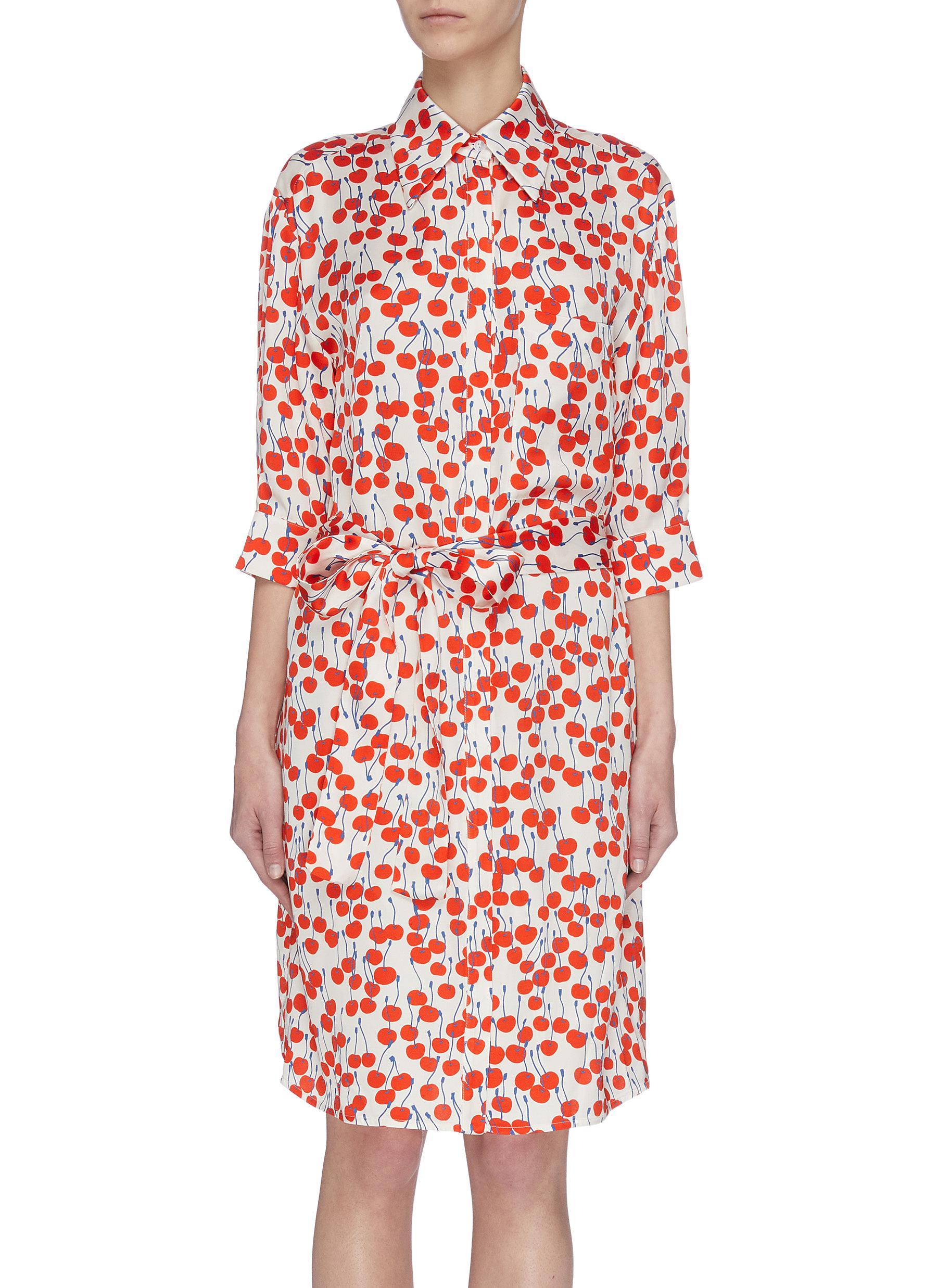 shop Victoria, Victoria Beckham Cherry print shirt dress online