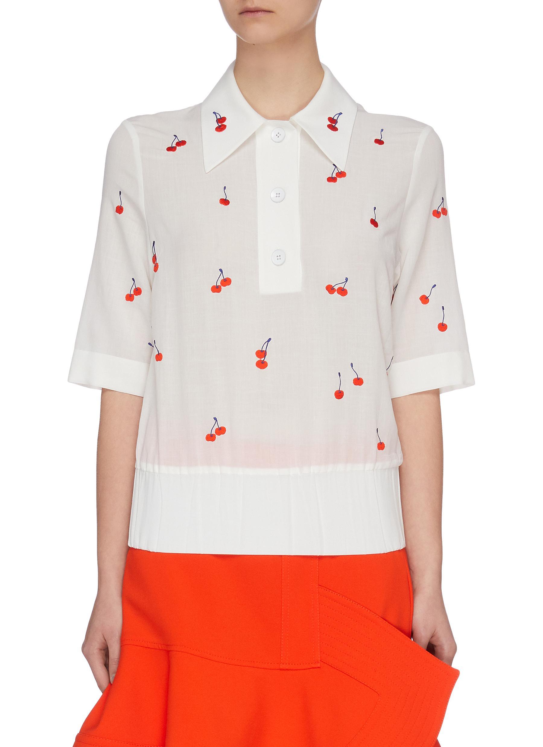 shop Victoria, Victoria Beckham Cherry embroidered elastic waist polo shirt online