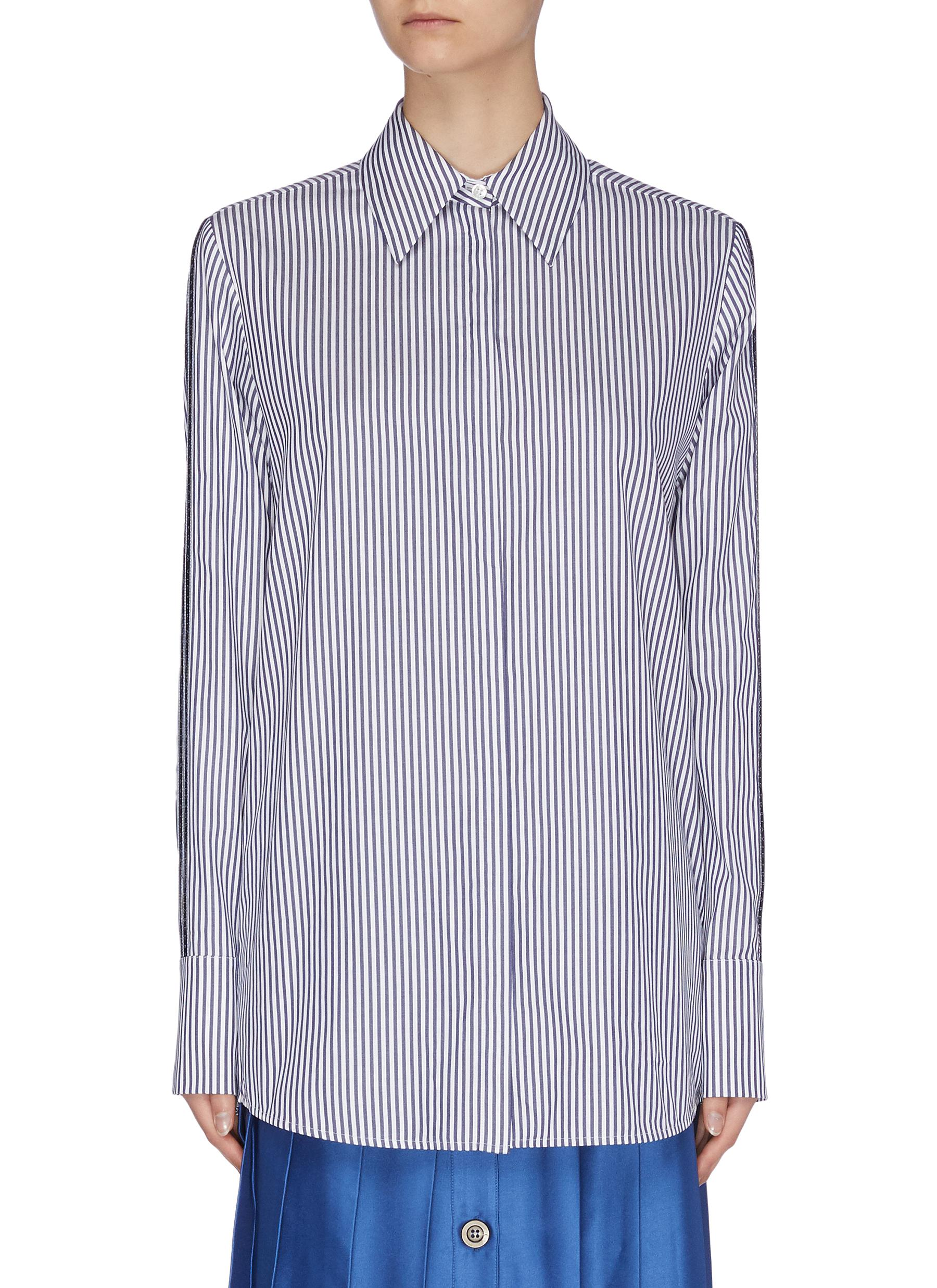 Buy Victoria, Victoria Beckham Tops Slit sleeve logo tape stripe shirt