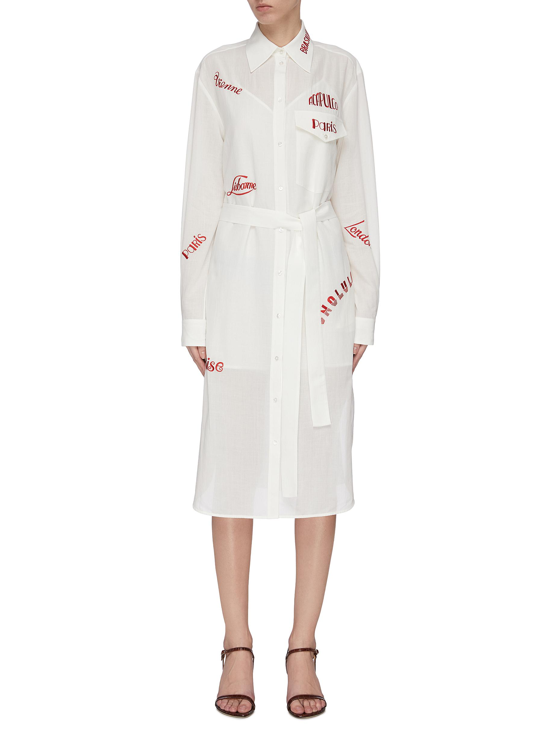 Buy Victoria, Victoria Beckham Dresses City text embroidered belted shirt dress