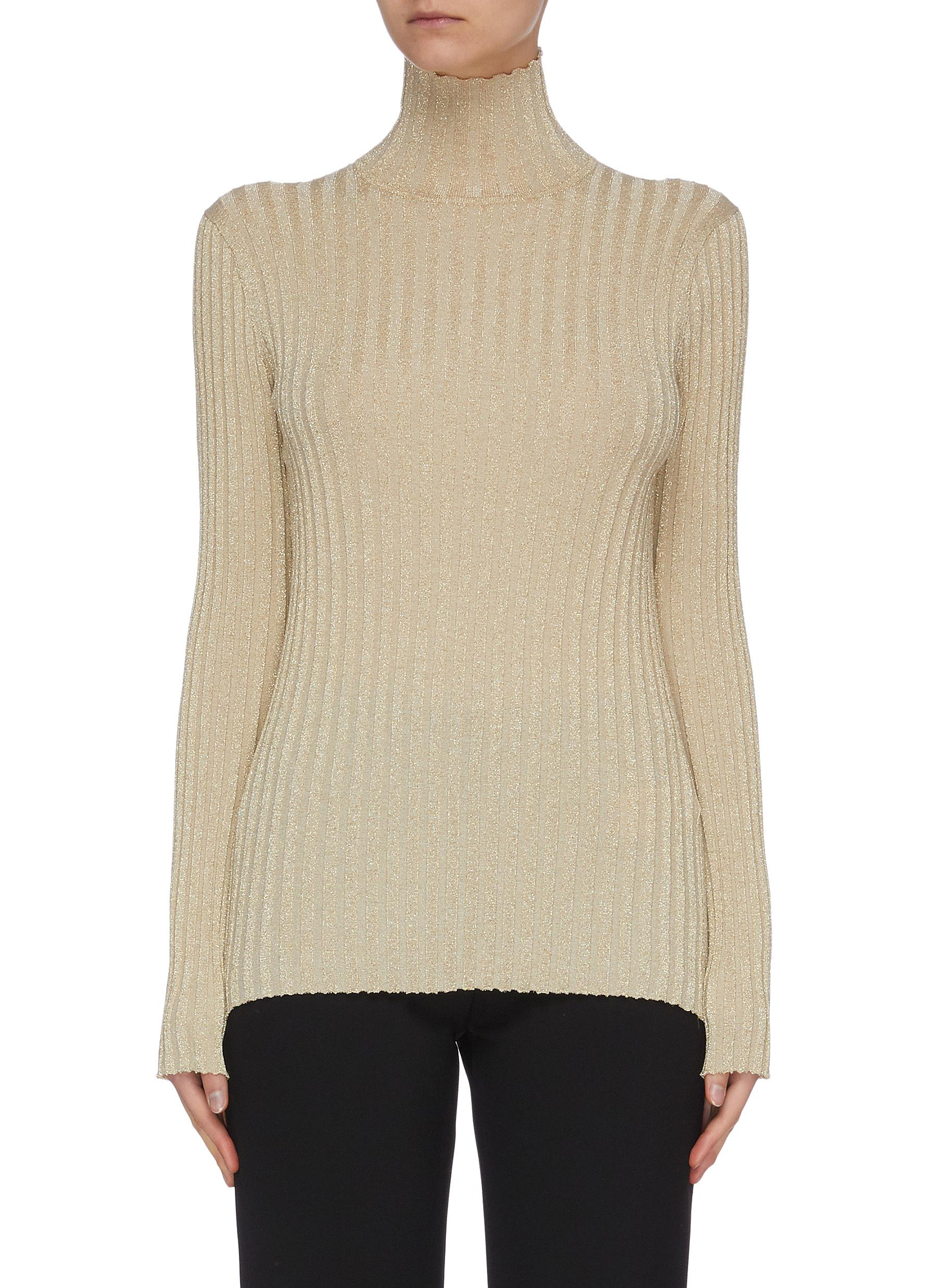 shop Victoria, Victoria Beckham Metallic rib knit turtle neck sweater online