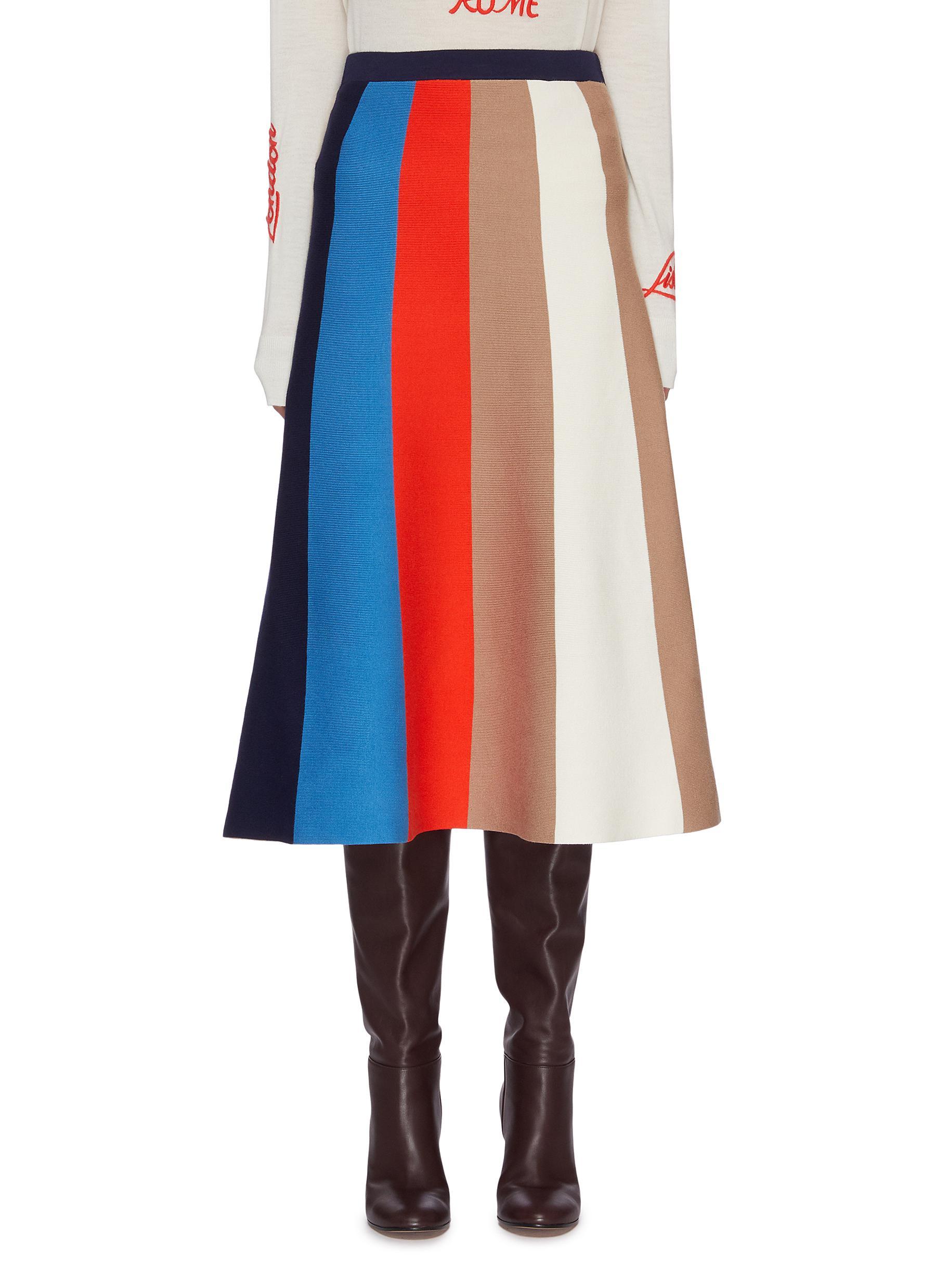 Buy Victoria, Victoria Beckham Skirts Colourblock stripe A line skirt