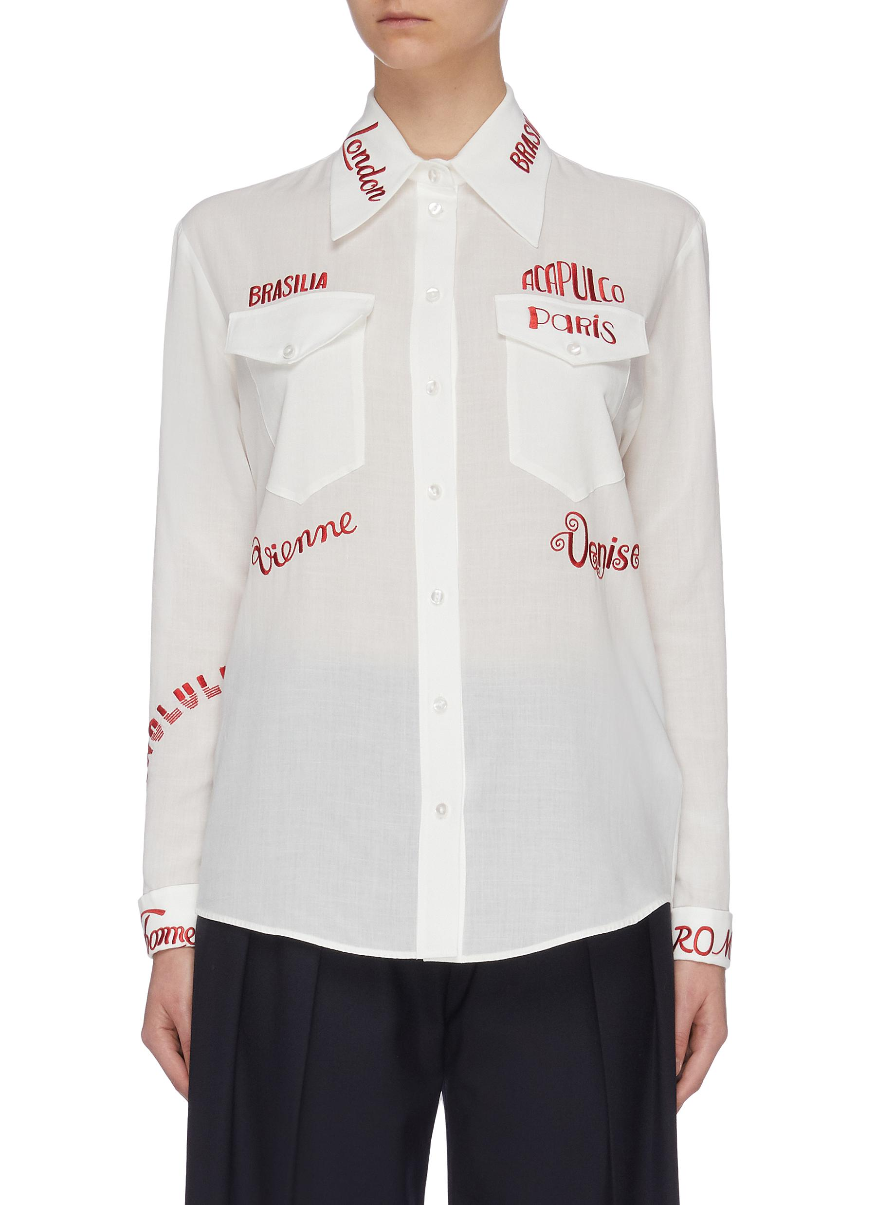 Buy Victoria, Victoria Beckham Tops City text embroidered chest pocket shirt