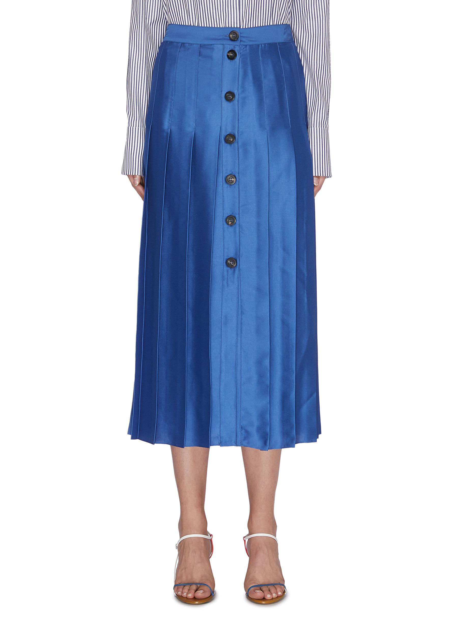 shop Victoria, Victoria Beckham Button-down box pleat midi skirt online