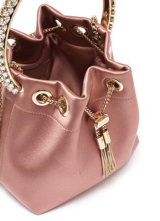 Detail View - Click To Enlarge - JIMMY CHOO - 'Bonbon' crystal embellished handle satin bag
