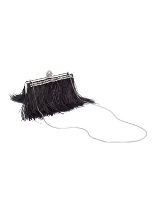 Detail View - Click To Enlarge - JIMMY CHOO - 'Celeste' ostrich feather trim crystal embellished clutch