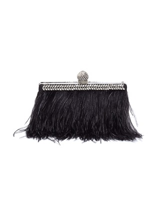 Main View - Click To Enlarge - JIMMY CHOO - 'Celeste' ostrich feather trim crystal embellished clutch