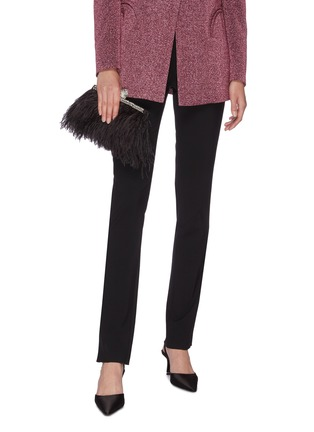 Figure View - Click To Enlarge - JIMMY CHOO - 'Celeste' ostrich feather trim crystal embellished clutch