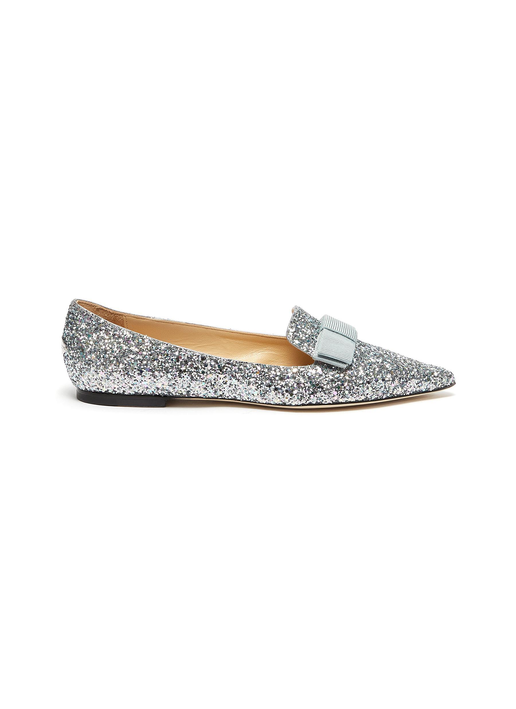 Jimmy Choo Flats Gala bow coarse glitter loafers