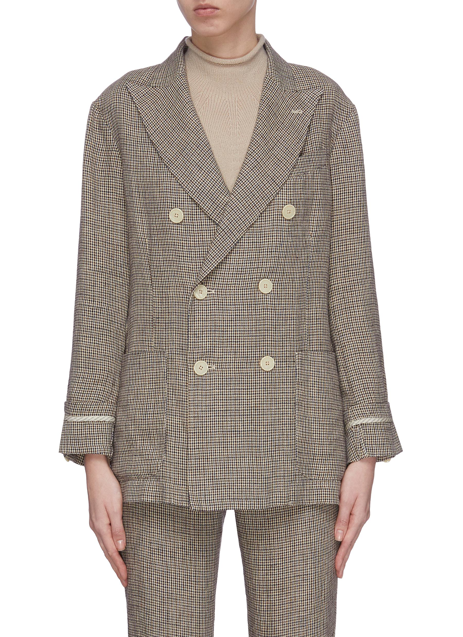 Buy Barena Blazers 'Biccardia' houndstooth double breasted blazer