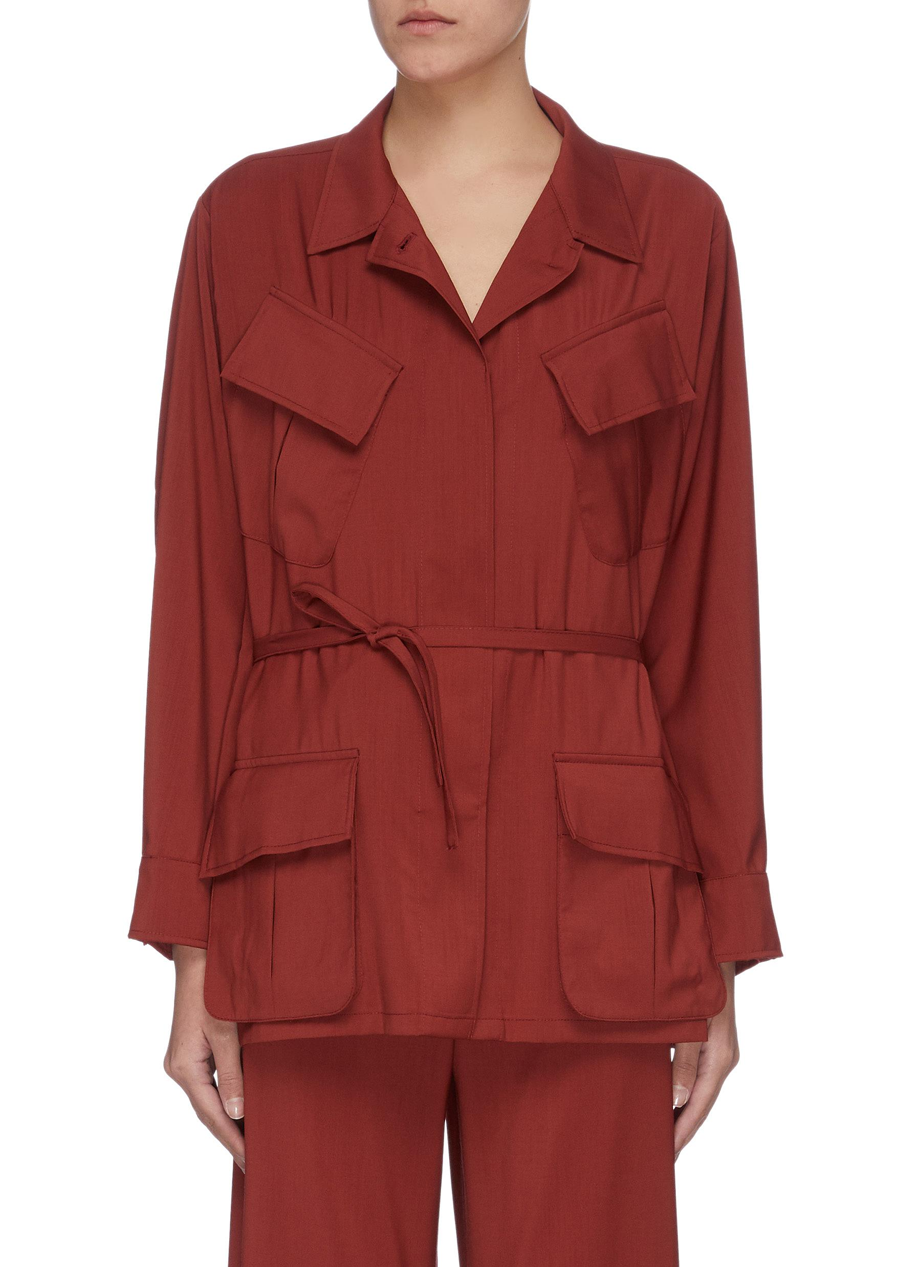 Buy Barena Jackets 'Vanna' slanted pocket virgin wool cargo jacket